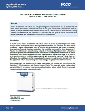 CULTIVATION OF MARINE INVERTEBRATE CELLS WITH CELCULTURE® CO2 INCUBATORS